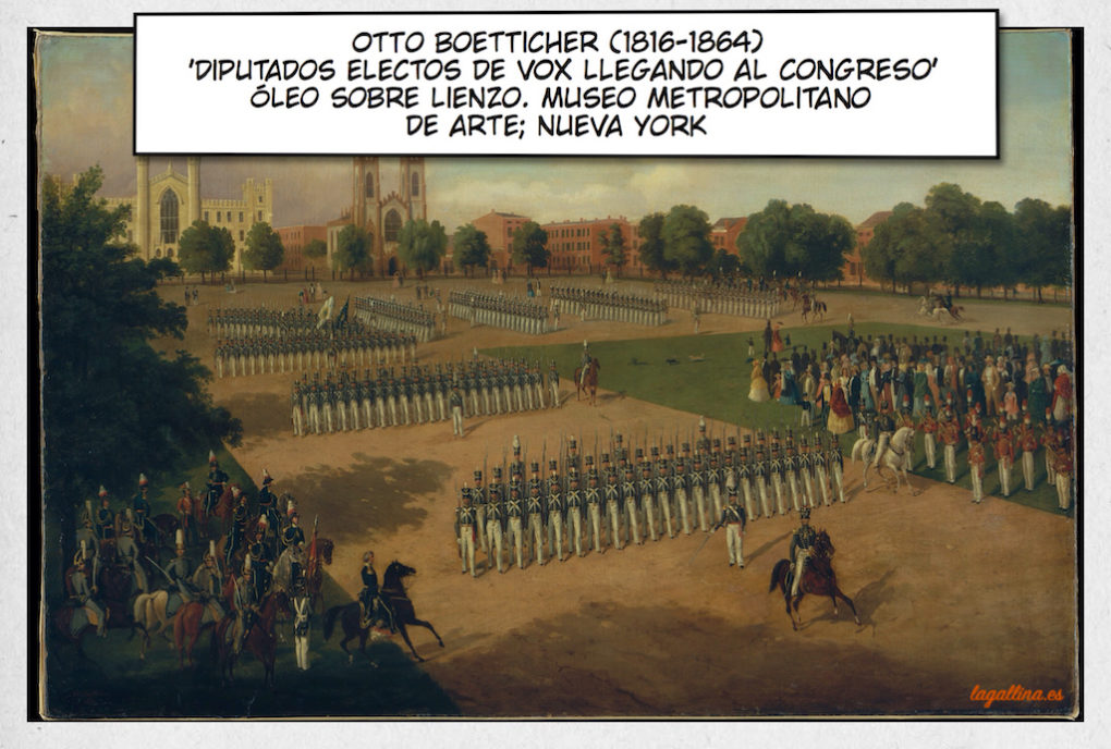 pinacoteca-otto-boetticher-seventh-regiment-on-review-met-diputados-electos-vox-congreso-gallina-ilustrada